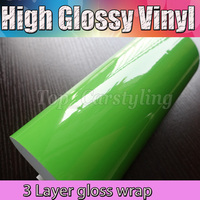 3 Layers Apple Green High Glossy Vinyl Film Shiny Glossy Films With Bubble Free Car Decal Wrap Stickers Size :1.52x20m/Roll 5x67