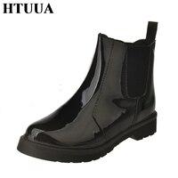 HTUUA Plush Winter Boots Brand Design Waterproof Rain Boots Ankle Boots Elastic Band Rain Shoes Woman
