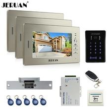 "JERUAN 7"" LCD video doorphone intercom system 3 monitor RFID waterproof Touch Key password keypad camera+remote control unlock"