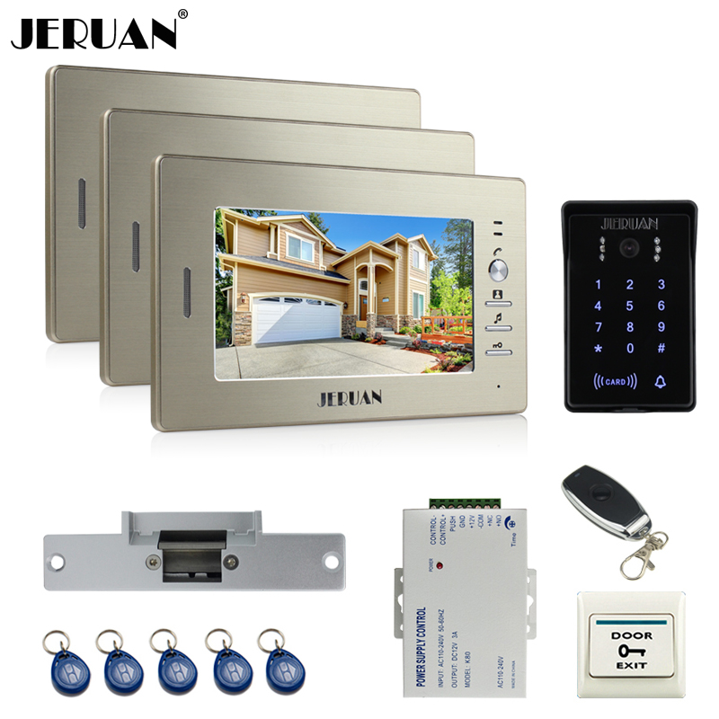 JERUAN 7`` LCD video doorphone intercom system 3 monitor RFID waterproof Touch Key password keypad camera+remote control unlock jeruan wired 7 touch key video doorphone intercom system kit waterproof touch key password keypad camera 180kg magnetic lock
