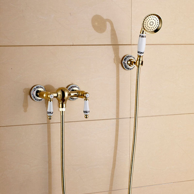 Wall Mount Dual Handles Bathroom Shower Faucet Golden Hot Cold Water Mixer  Tap With Handheld Shower