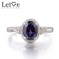 Leige Jewelry Alexandrite 925 Sterling Silver Ring Gemstone Oval Cut Engagement Promise Ring Jewelry Gifts For