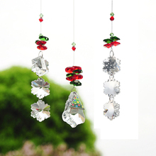 H D 3pcs Christmas Decor Snowflake Tree Pendants Crystal Chandelier Part Prisms Hanging Drops Suncatcher Home