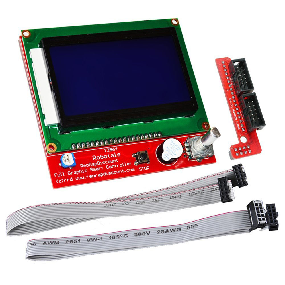 LCD 12864 Graphic Smart Display Controller module with connector adapter & cable for RepRap RAMPS 1.4 3D Printer kit Red