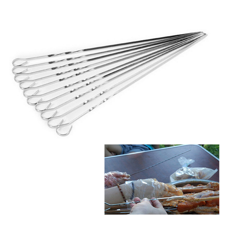 Urijk 10PCs/Set DIY Barbecue Accessories Stainless Steel Flat Meat Skewers For Outdoor BBQ Tools Kitchen Outdoor BBQ Supplies