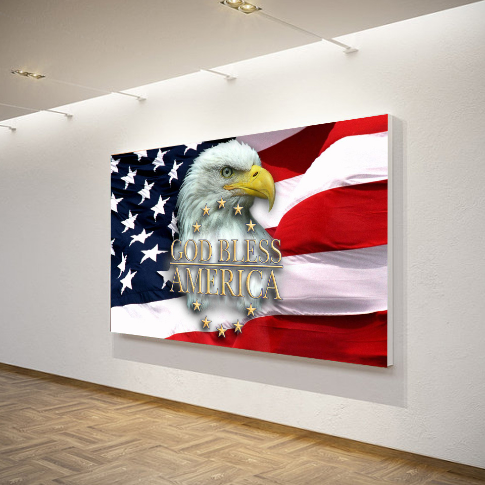1 Panel HD Printed Framed USA Flag Eagle Good Bless Modern Home Wall ...