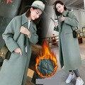 Moda 2016 Otoño Invierno Largo Lana Mezclas Coat Para Las Mujeres Caliente Outwear Engrosamiento tipo Flojo Abrigos Mujer HY181