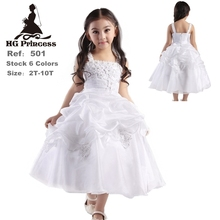 Free Shipping 2-10 Years Girl Party Dress 2019 New Design White Flower Girl Dresses For Weddings Ankle Length Kids Evening Gowns
