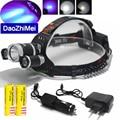 Super Bright Ultraviolet 5000 LM T6 UV 3*Headlight Headlamp 3-Mode Hunting Flashlight Torch+18650 battery+Car AC Charger