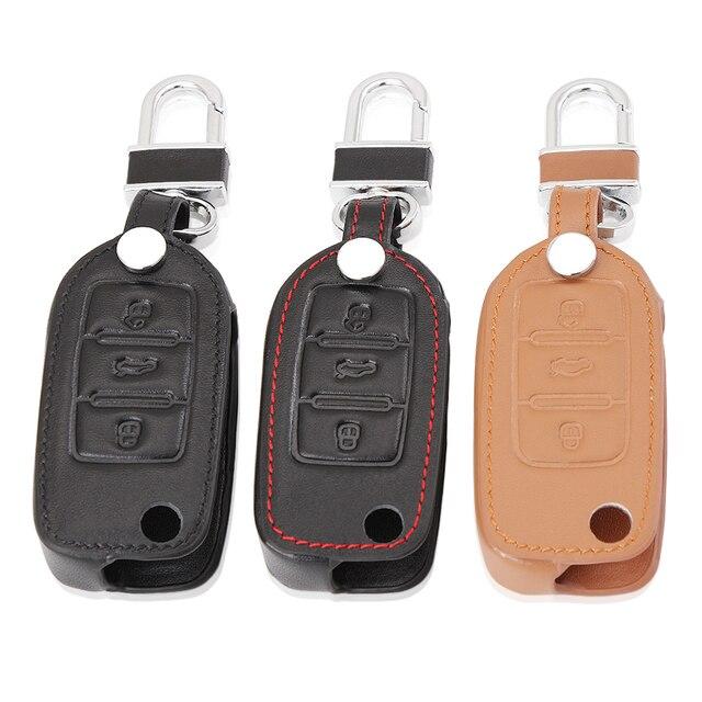 Genuine Leather Car Key Cover For Volkswagen GOLF 4 5 6 Passat B5 B6 Tiguan Touran Polo Scirocco Eos Jetta mk5 mk6 Accessories