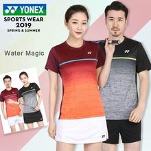 Yonex мужские футболки для бадминтона дышащие удобные быстросохнущие фитнес соревнования с коротким рукавом спортивные футболки