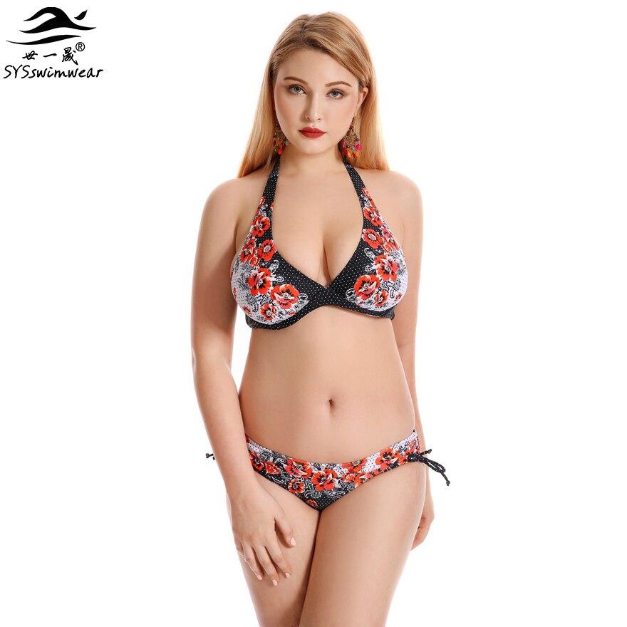 8eedb8f939ba1 Top Quality Retro Floral Summer Plus Size Sexy Swimwear Women Bikini Big  Breast Lady Beach Bathing