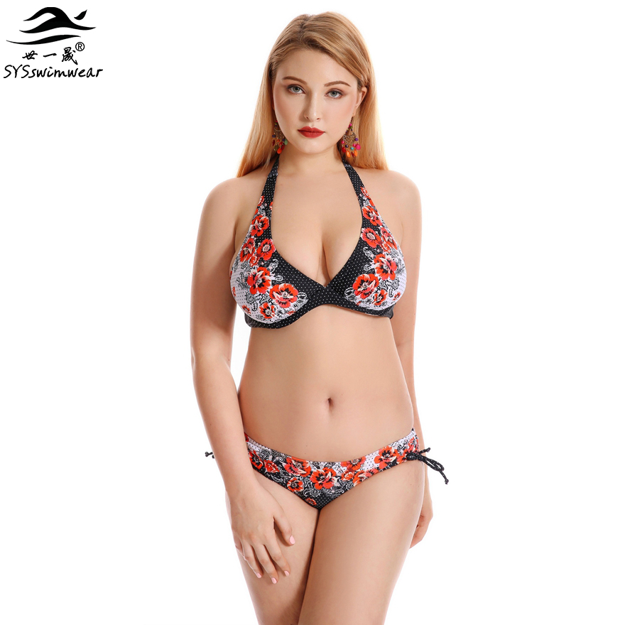 Top Quality Retro Floral  Summer Plus Size Sexy Swimwear Women Bikini Big Breast Lady Beach Bathing Suit Halter Swimsuit new summer beach top quality plus size sexy women one piece swimwear floral