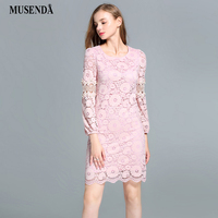 MUSENDA Plus Size 5XL Women Beading Hollow Out Pink Lace Dress 2017 Autumn Lady Sexy Casual