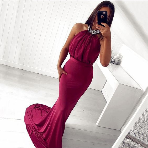 Halter Long Sheath Prom Dresses with Beaded Choker Backless Women Pageant Formal Dresses