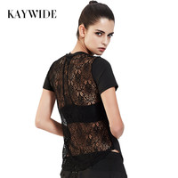 Kaywide 2017 Summer Irregular Lace Patchwork Women T Shirt Sporting Breathable Casual Tops Ladies Harajuku Active