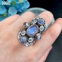 Непальская ручной стерлингового серебра 925 пробы с открытым кольцо натуральный лунный камень винтажные Модные женские Кольца