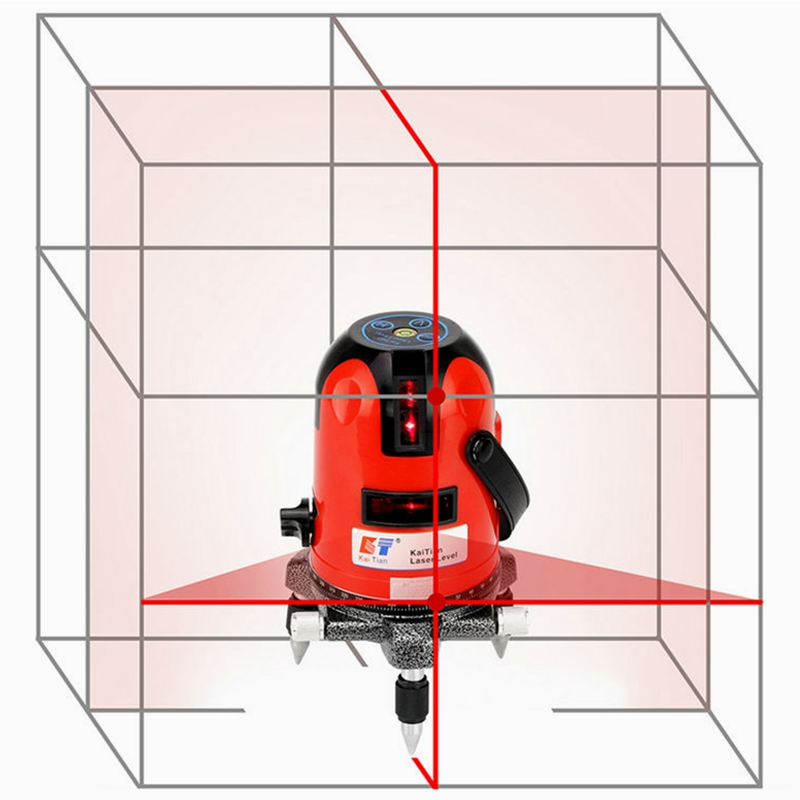 KaiTian Laser Level 2 Red Cross Line 2 Point 360 Rotary Horizontal 635nm Vertical Self-Leveling Nivel Laser Diagnostic Tools 1pcs ak435 360 degree self leveling cross laser level 2 line 1 point rotary horizontal vertical red laser levels cross laser