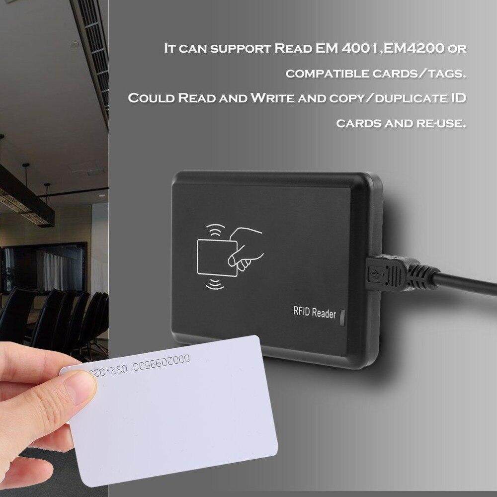 Apoio Leitor de Cartão USB 125Khz RFID EM4305 T5567 Leia EM 4001 EM4200 Ou Cartões Compatíveis/Tags + 5 ID Chave Fivelas + 5 Cartões de IDENTIFICAÇÃO