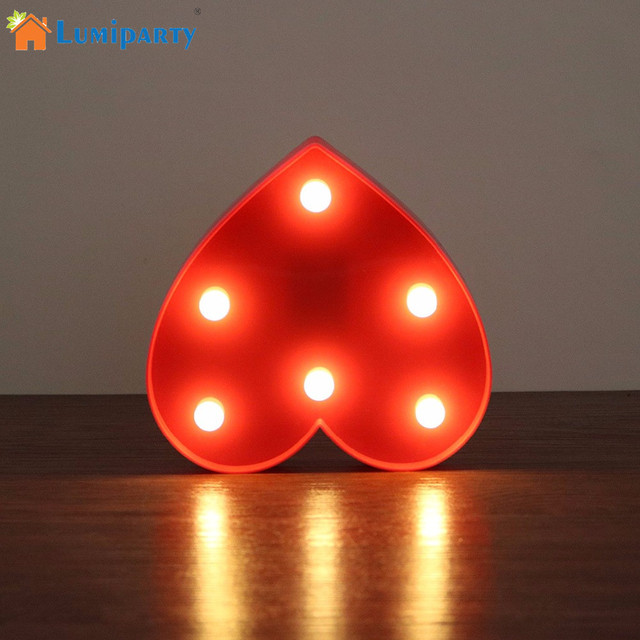 Lumiparty heart led night light romantic marquee heart sign table lamp led hanging light led marquee