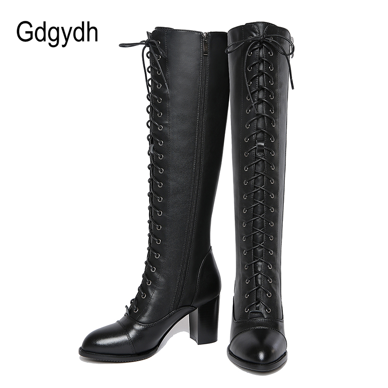 Gdgydh 2019 Winter Lacing Knee High Boots Women Spring Autumn Female Rubber Sole High Heels Woman