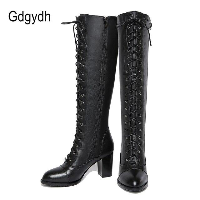 Gdgydh 2019 Kış Bağlama Diz Yüksek Çizmeler Kadın Bahar Sonbahar Kadın Kauçuk Taban Yüksek Topuklu Kadın Hakiki Deri Patik Ayakkabı