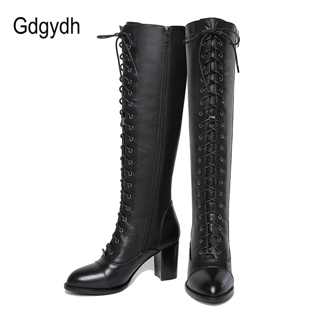 Gdgydh 2019 Winter Lacing Knee High Boots Women Spring Autumn Female Rubber Sole High Heels Woman Genuine Leather Booties Shoes