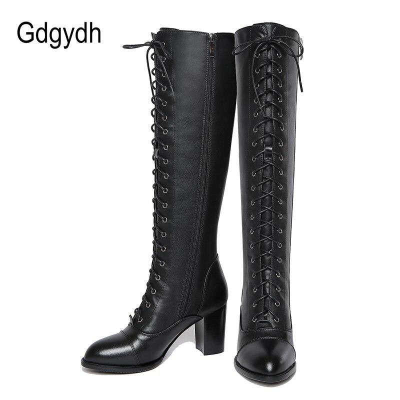 d86e0dae49 Gdgydh invierno 2019 cordones de la rodilla botas altas mujer primavera  otoño mujer suela de goma zapatos de tacón alto de mujer de cuero genuino  zapatos de ...