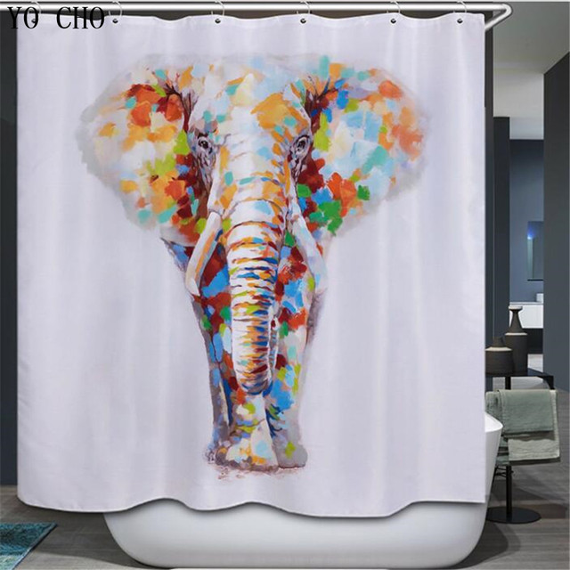 YO CHO Animal cartoon elephant shower curtain kids bathroom ...