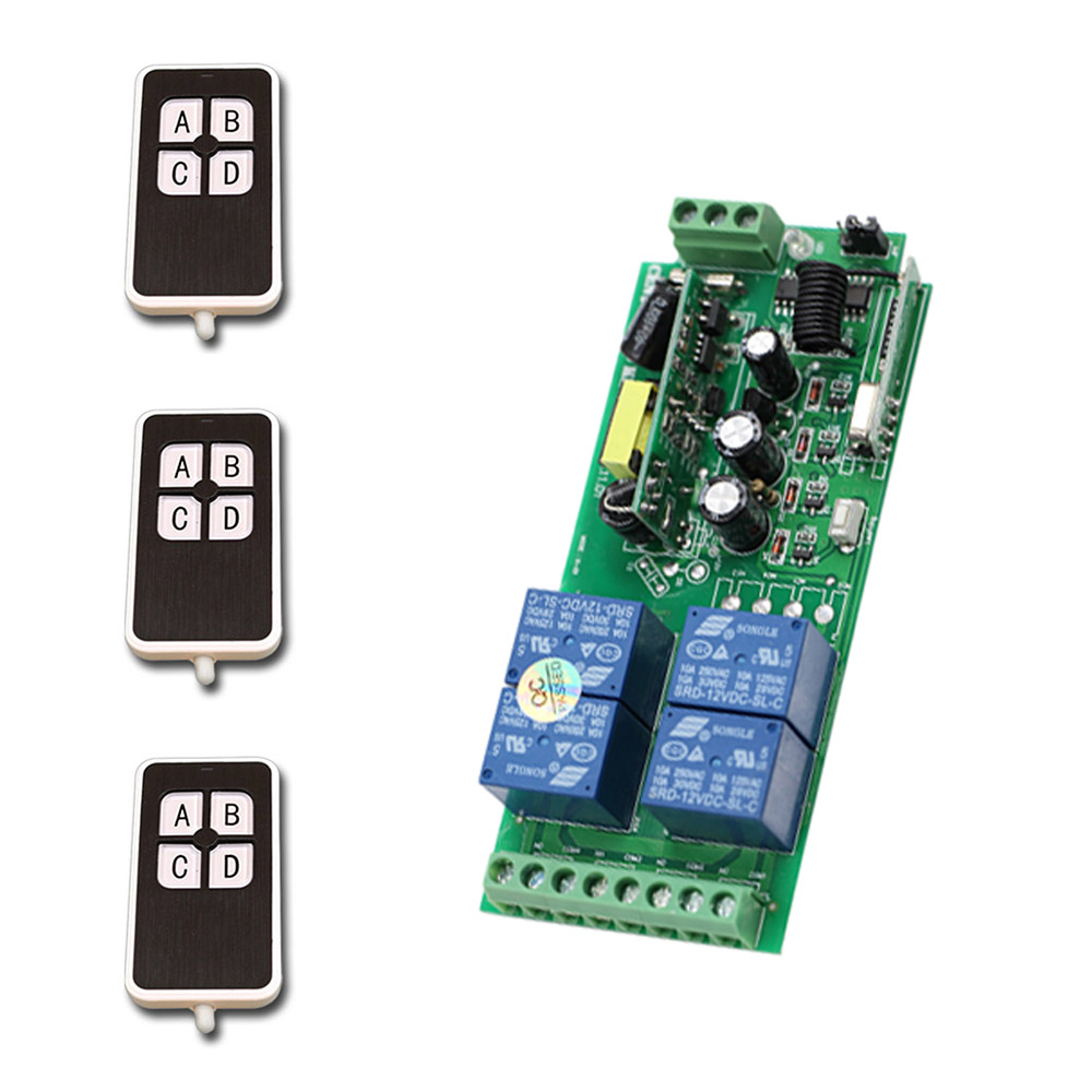 Good Price RF Wireless Remote Control 1 * Receiver AC220V 10A 4CH RF 3 * Transmitter Available for Wide Voltage 85V-250V good price wireless 1 channels 220v lamp remote control switch receiver transmitter used in household stairs corridor promotion
