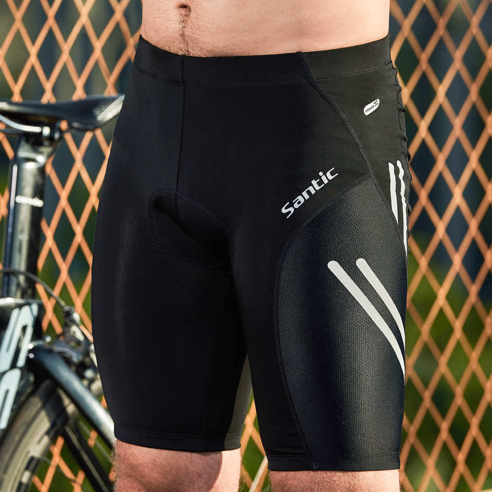 Santic Men Cycling Padded Shorts Coolmax 4D Pad Shockproof SANTIC R-FEEL Anti-pilling SANTIC AIRFREE Biking Riding Shorts KS007