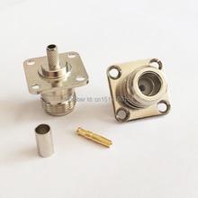 1 шт. N со штекера на гнездо RF коаксиальный преобразователь коннектор обжимной RG58, RG142, RG400, LMR195 4 отверстия для крепления на панель никелированный