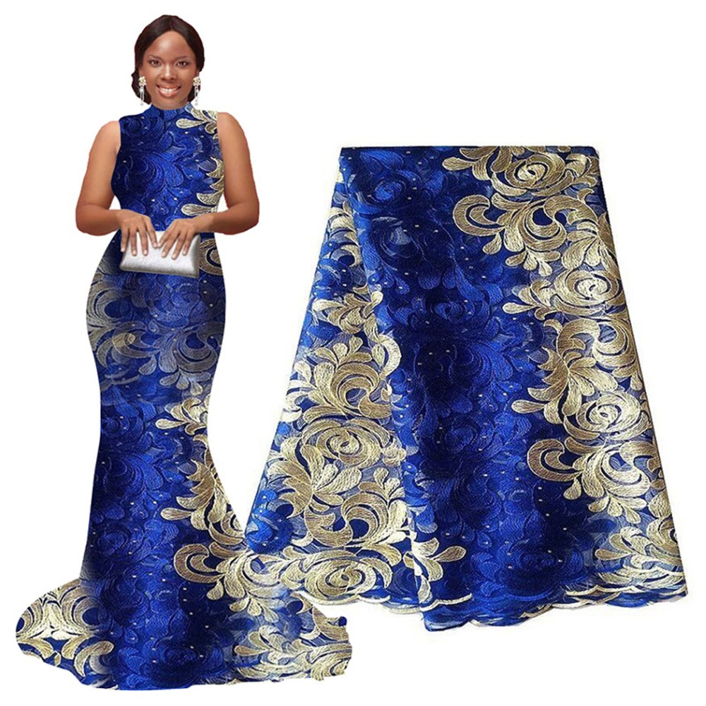 Classic Hot Tulle Embroidered Mesh Lace Fabric African Lace Fabric High Quality Guipure Lace 5 yards for Party and Wedding
