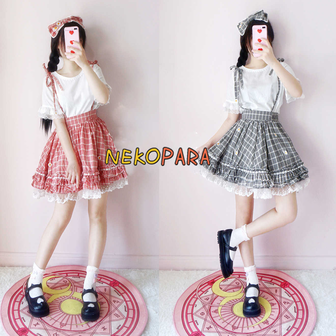 Summer Daisy Cute Women's 2PCS Set: White Round Collar Hollow Out T-shirt Tee + Plaid Checks Suspender Skirt 2 Colors