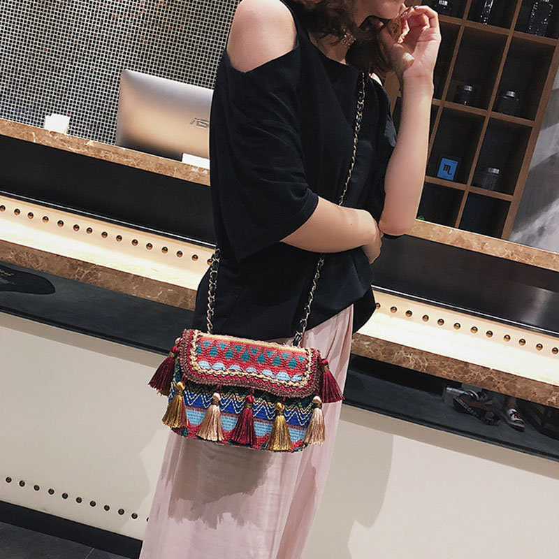 Tassel Fashion Straw Bag  1