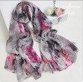 100% real seda twill bufanda Gris de impresión de tinta floral bohemio maxi viscosa hijabs islámicos bufandas estilo wraps Mantón de seda de verano