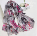 100% real silk twill scarf Grey ink print floral islamic scarves viscose maxi hijabs bohemian Shawl silk summer style wraps