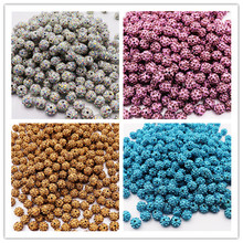 hot deal buy 50pcs lot small hole beads round ball polymer clay pave cz rhinestone cubic zirconia glass crystal beads diy jewelry accessories
