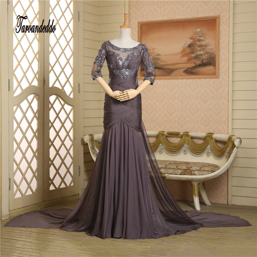 Hot Sale Brown Chiffon Applique Lace Half Sleeves Long Prom Dress Ruched Sexy Evening Dresses vestido longo azul
