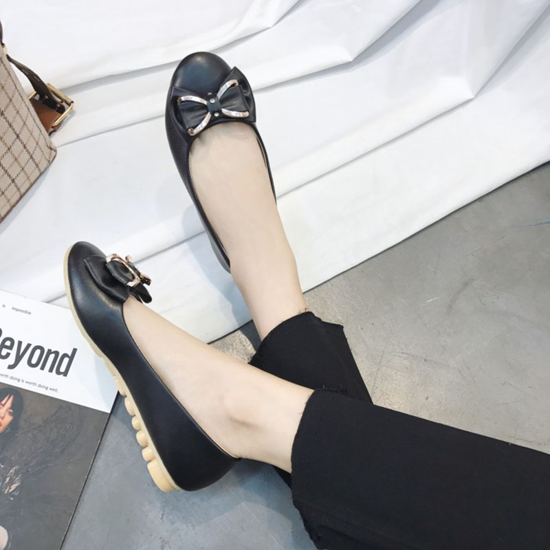 Rubber Bow Knot Flat Shoes for Woman Leather Loafers Spring Casual Shoes Metal Buckle Flats Women Shoes Mujer Shallow Flats 2018 new genuine leather flat shoes woman ballet flats loafers cowhide flexible spring casual shoes women flats women shoes k726