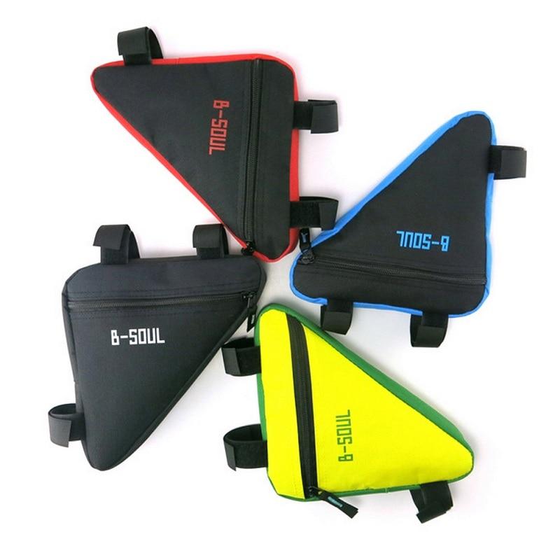 7 צבעים משולש Waterproof Waterproof אופניים אופניים אופניים קדמי צינור מסגרת שקית שקית האוכף עם וו & קלטות לולאה