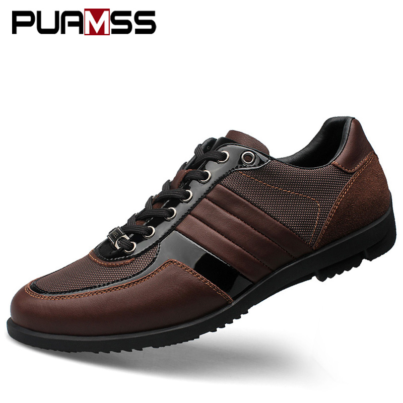 Brand Men Casual Shoes Genuine Leather Men Shoes Lace up Breathable Soft Autumn Casual Flats Formal