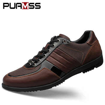 Brand Men Casual Shoes Genuine Leather Men Shoes Lace-up Breathable Soft Autumn Casual Flats Formal Shoes Plus Size 45 - DISCOUNT ITEM  50% OFF All Category