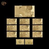 100 اليورو الذهب 24 كيلو 999.9 مطلية بالذهب ورقة المال مع شهادة بطاقة لأفضل التذكارات