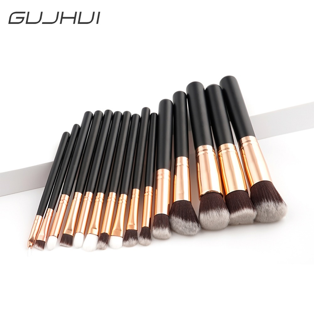 15pcs Professional Makeup Brushes Cosmetic Tool Black Rose Gold Face Blush Foundation Powder Eyeshadow Make Up Brush Set #254529 jessup 5pcs black gold makeup brushes sets high quality beauty kits kabuki foundation powder blush make up brush cosmetics tool