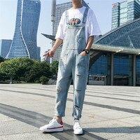 High Quality Broken Hole Light Blue Bib Jeans Male Trend Wild Mens Jumpsuit Super Handsome Couple Overalls Large Size XL XXL