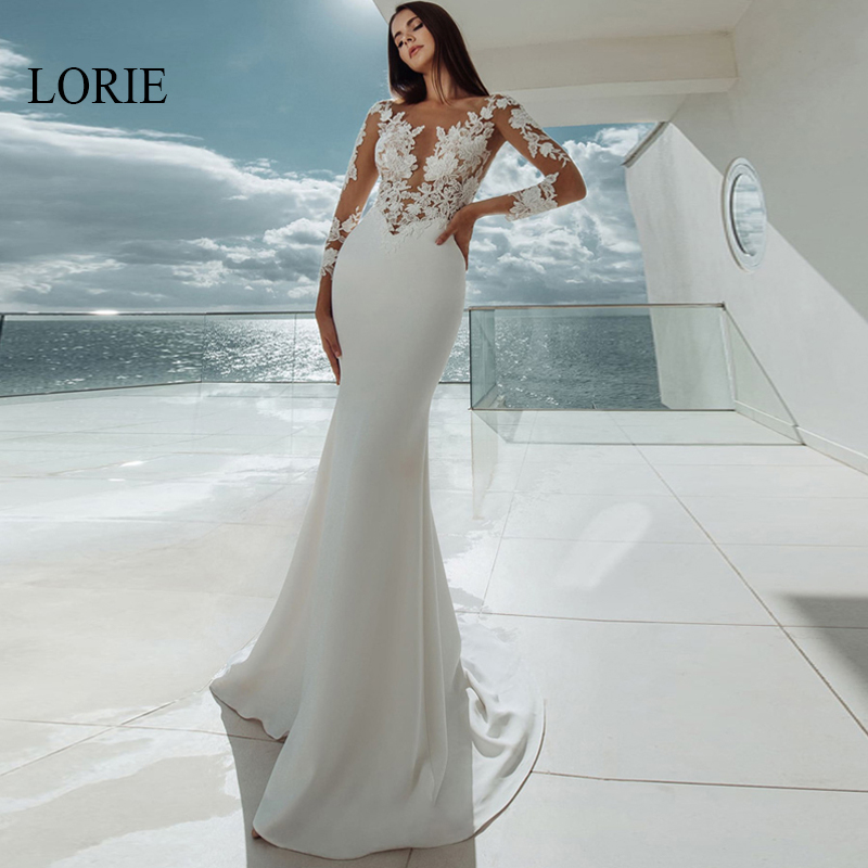 LORIE Elegant Appliques Mermaid Wedding Dress Long Sleeve Stain Bridal Dresses Beach Wedding Gown White Ivory Vestido De Noiva