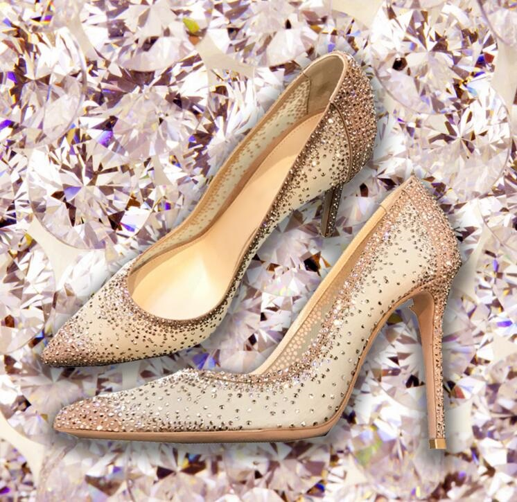 Cheap Bling Crystal Wedding Shoes Bride Mesh Rhinestone Patchwork Dress Pumps Champagne Black Glittering Heels Pump