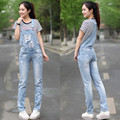 Free Shipping 2017 New Fashion Straight Pants For Women Plus Size XL High Quality Denim Jeans Jumpsuits And Rompers With Holes
