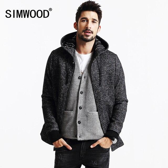 Simwood marca 2013 nuevos abrigos de invierno de los hombres de moda casual chaqueta de lana y mezclas parkas cálido mens cashmere abrigos dy103
